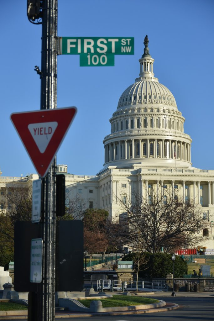 this image shows the us capitol, depits the different facets of the us government